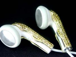 Foto 3 Kopfh�rer Apple iPod / iPhone gold / Farbe Diamant Ohrh�rer