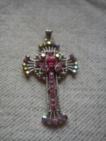 Kreuzanhänger , Echt Silber , mit Ziersteinen