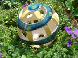 Foto 2 Kugel blau-grün gelb Dekokugel Garten Terrasse Balkon Geschenk