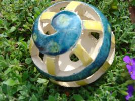Foto 3 Kugel blau-grün gelb Dekokugel Garten Terrasse Balkon Geschenk
