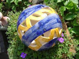 Kugel blau orange Dekokugel Garten Terrasse Balkon Geschenk