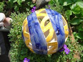 Foto 2 Kugel blau orange Dekokugel Garten Terrasse Balkon Geschenk