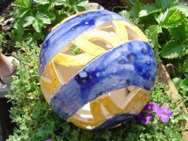 Foto 3 Kugel blau orange Dekokugel Garten Terrasse Balkon Geschenk
