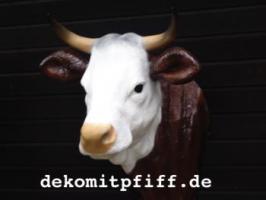 Kuhkopf, ''Liesel von der Alm'', braun weiss, zum an die Wand hängen, 105cm / HAEIGEMO  Artikel-Nr.: 2252