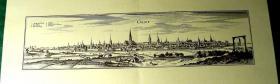 Kupferstich alt Gent 60x21 (B002)