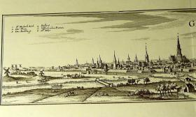 Foto 2 Kupferstich alt Gent 60x21 (B002)