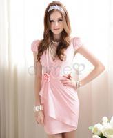 Kurzes V-Ausschnitt klassisches Kleid aus Polyester