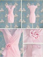 Foto 2 Kurzes V-Ausschnitt klassisches Kleid aus Polyester