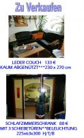 LEDER COUCH + SCHLAFZIMMERSCHRANK