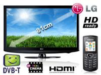 LG 32LD320 81 cm (32 Zoll) LCD TV+Samsung E1170 schwarz mit Vertrag+T-Mobile Relax 60