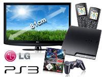 LG 32LD320 81 cm (32 Zoll) LCD TV+Sony PlayStation 3 Slim 250GB+2 LG Handys mit Vertrag