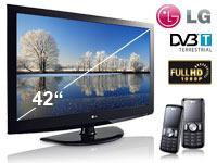 LG 42LF2510 LCD-TV 2x LG KP100 schwarz mit Vertrag o2 Inklusivpaket Duo