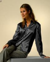 LUCIA - Designer-Satinbluse in schwarz Gr. 40 - OVP - NEU