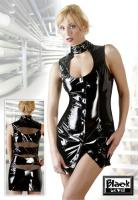 Lack Minikleid mit Stehkragen - Black Level - Schwarz - Größe L - Neu & OVP