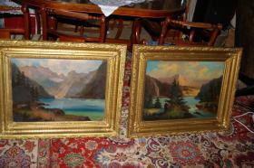 Landschafts-Gemälde, 2 Stück, sogenannte Pendants