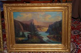 Foto 2 Landschafts-Gemälde, 2 Stück, sogenannte Pendants