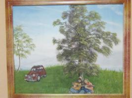 Landschaftsbild in Öl mit jungen Paar
