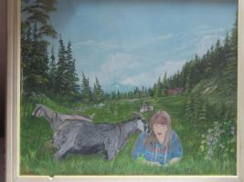 Landschaftsbild in Öl, Junges trauriges Mädchen