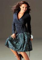 Laura Scott Woman - Seiden-Druckrock petrol Gr. 40 - OVP - NEU