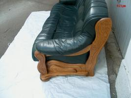 leder couch garnitur in dunkelgr n mit zeitlosen eiche. Black Bedroom Furniture Sets. Home Design Ideas