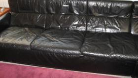 Foto 2 Leder Eckcouch, schwarz, gebraucht
