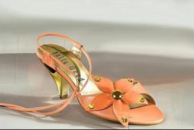 Leder-Sandalette, apricot m. Strass