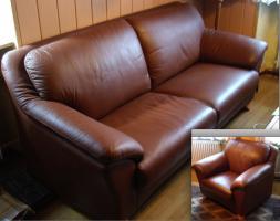 Leder-Sofa (Zweisitzer) mit zwei Sessel
