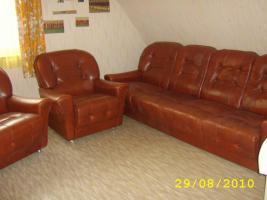 Ledercouch-Garnitur mit 2 Sesseln, kaffeebraun, gebraucht 70er Jahre