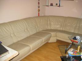 Ledercouch in beige [Lounge] - neuwertig