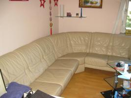 Foto 2 Ledercouch in beige [Lounge] - neuwertig