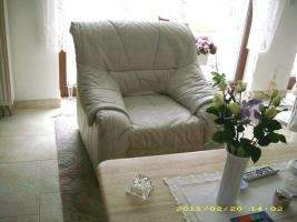 Ledercouch hellgrau 3+2 Sitzer +Sessel
