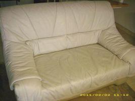 Foto 3 Ledercouch hellgrau 3+2 Sitzer +Sessel