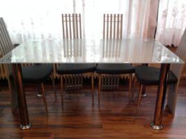 Foto 5 Ledercouch(grün 3er,2er,1er), Couchtisch(glas), Esstisch(glas)mit 6 Stühlen, Wohnwand+Sideboard