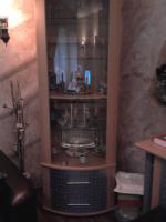 Foto 9 Ledercouch(grün 3er,2er,1er), Couchtisch(glas), Esstisch(glas)mit 6 Stühlen, Wohnwand+Sideboard