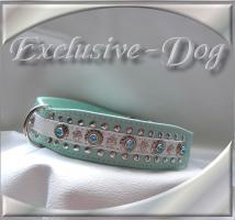 Foto 2 Lederhalsband Lederhalsbänder French Bulldog Hundehalsband Nieten Strass