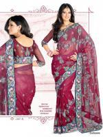 Leuchtend rote Net Sari Blusenstoff inkl. Unterrockstoff