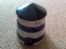 Foto 2 Leuchtturm als Sparbüchse, Keramik  4er Set