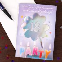 Lustige und schöne Glueckwunschkarte zum 18. Geburtstag