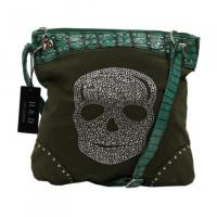 Luxus Shopper Strass Totenkopf Grün!