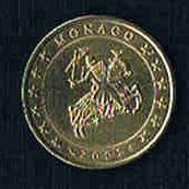 MONACO Original Kursmünze 50 Eurocent Jahr 2002 Prägefrisch .