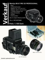 Mamiya RB 67 PRO SD PROFESSIONAL Mittelformatkamera im Format 6x7