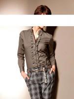 Mandarin - Bluse mit Rüschen und Pailletten taupe Gr. 44 - OVP - NEU
