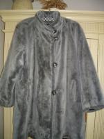 Mantel Kunstpelz grau