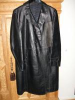 Mantel Leder 60er Jahre aus ehemaliger Sowjetunion Gr. 52 schwarz