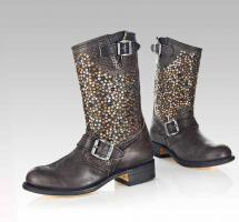 Marken-Stiefel, schwarz-braun mit Nieten von SENDRA