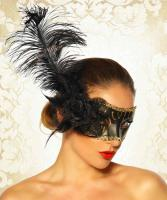 Maske mit Feder Venezia schwarz/gold Gr. OS - OVP - NEU