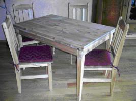 Massivholz Esszimmer Garnitur Tisch + 4 Stühle
