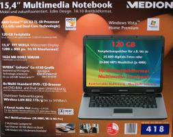 Medion Multimedia Notebook / Laptop 15,4'' + Tasche