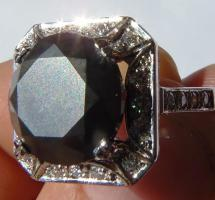 Foto 2 Mega seltene 14k gold & 7.7ct schwarzem Zentrum Diamant-Ring. Zertifikat