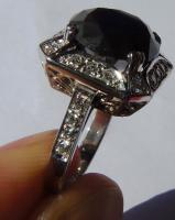 Foto 3 Mega seltene 14k gold & 7.7ct schwarzem Zentrum Diamant-Ring. Zertifikat